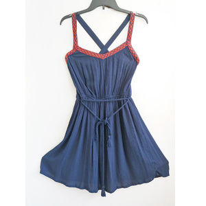 FOREVER 21 WOVEN NAVY BLUE FIT FLARE CHIFFON DRESS
